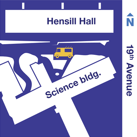 Map of food truck location at Hensill Hall/Science Building